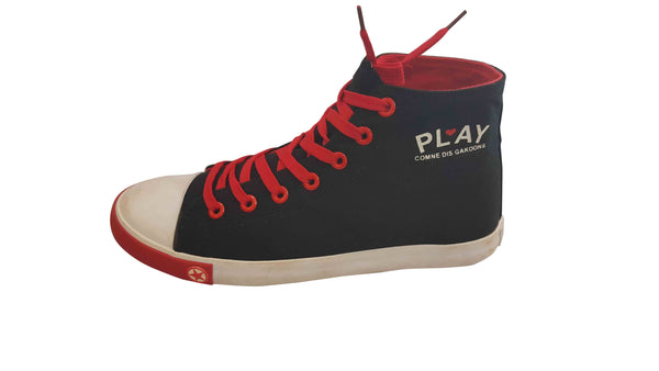 Mens High Top Laced Up Sneakers - Black & Red