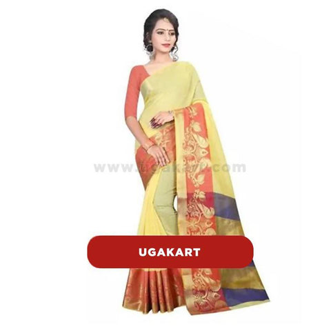 Sandal Silk Saree With Red Blouse