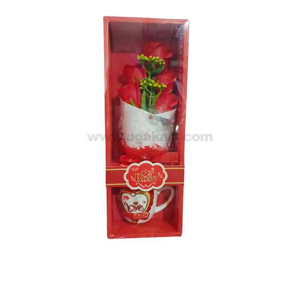 Red Artifical Rose With Mug