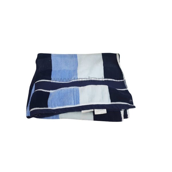 Bath Towel With White And Blue Strips-Size 70X140Cm