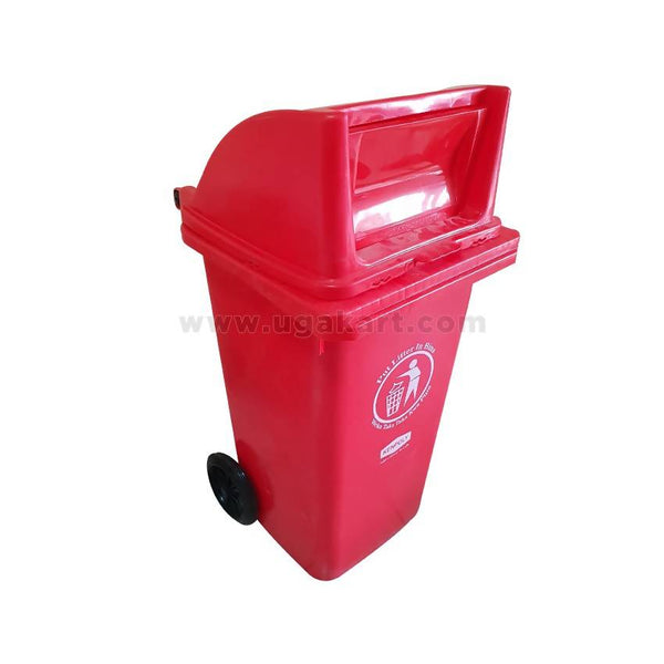 Kenpoly Plastic Trash Bin With Wheels - Blue