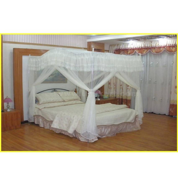 Steel Stand Curved Design Mosquito Net - White