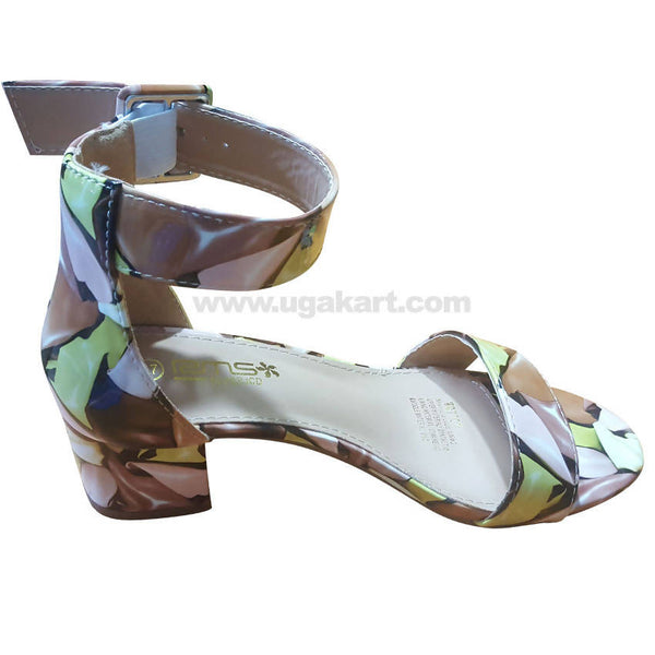 Women's Green & Brown Ankle Strap Heel Shoes