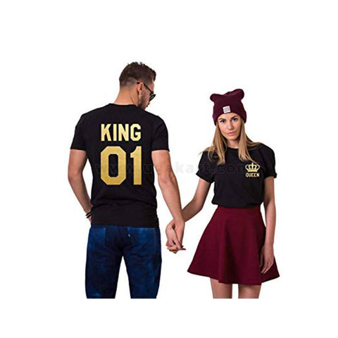 Black Printed T-Shirts King And Queen