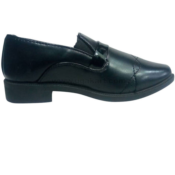 Black Leather High Heels Shoes For Boys