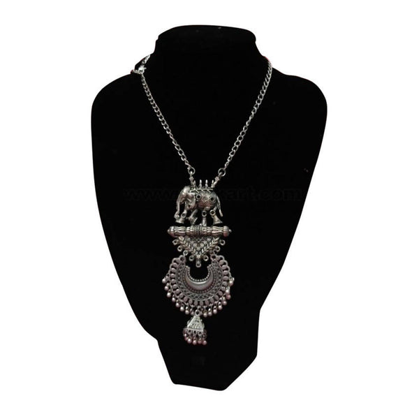 Silver Oxidized Black Elephant Design Necklace