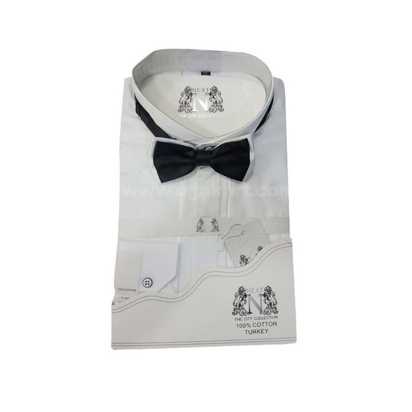 Next City Collection Mens White Shirt With Black Bow