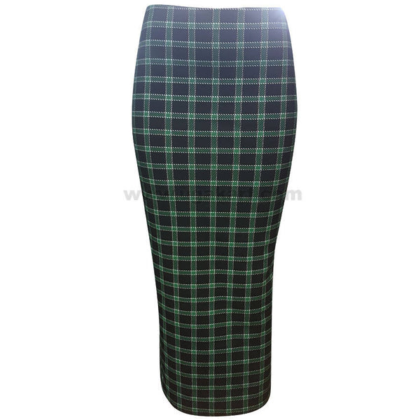 Black and Green Squared Long Skirt (Size : S,M,L,XL)