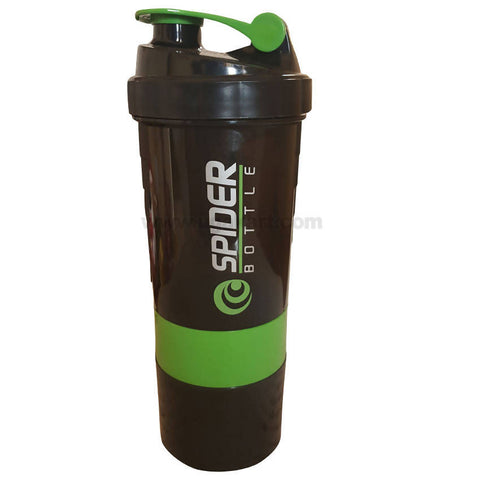 SPIDER BOTTLE Protien Shaker Gym Bottle_black and Green (500ML)