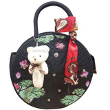 Black Round Ladies Party Hand Bag