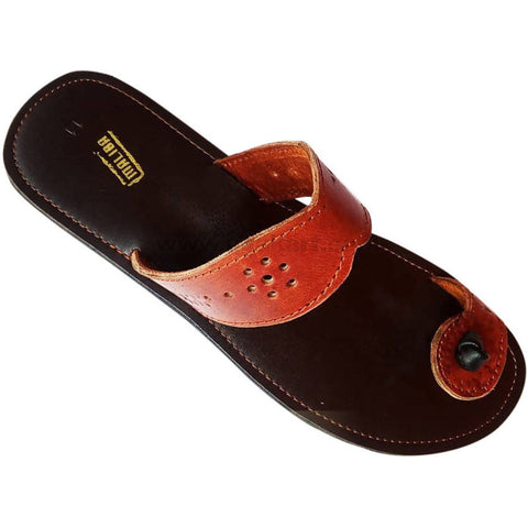 Maliba Black and Brown Leather Sandal For Men's