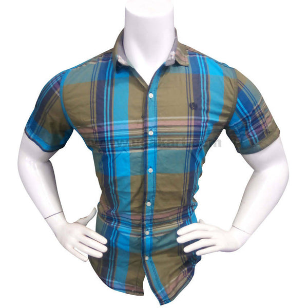 Lapis Blue Half Sleeve Check Shirt For Men