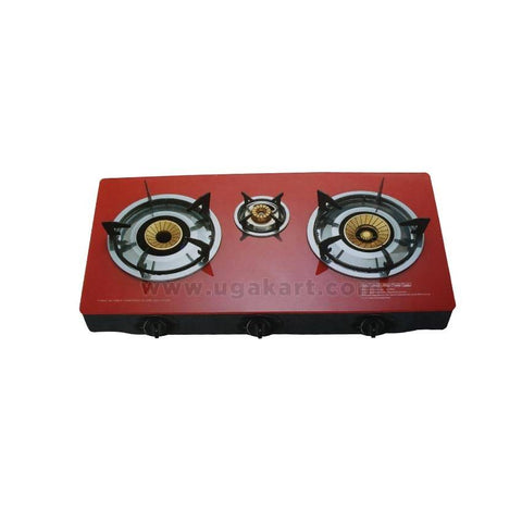 SB-308 - Automatic 3 Burner Table Top Gas Cooker - Red