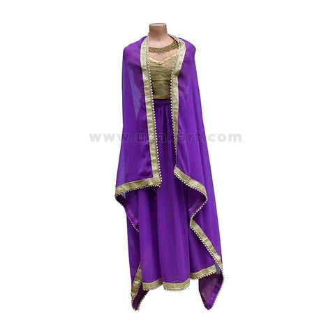 3Pcs Dress/Lehenga - Purple and Golden Color (Blouse/Top)