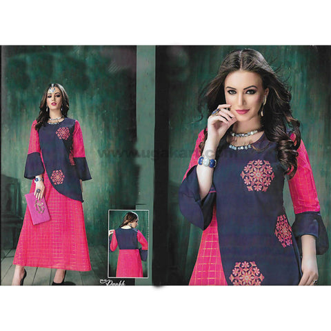Pink and Blue Heavy Rayon Kurti - SIZE : L , XXL