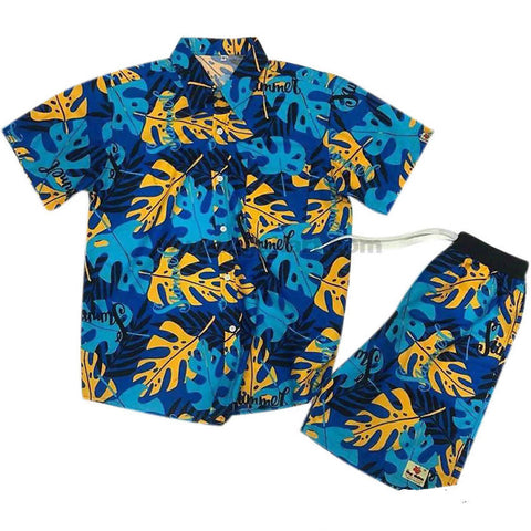 Men's Multi Color Short Sleeve Shirt & Short