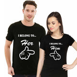 I Belong To Him&Her Black Couple T- shirts (Size: S,M,L,XL)