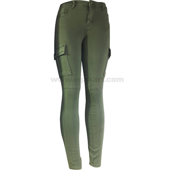 Women's Army Green Side Pocket Chino Pant