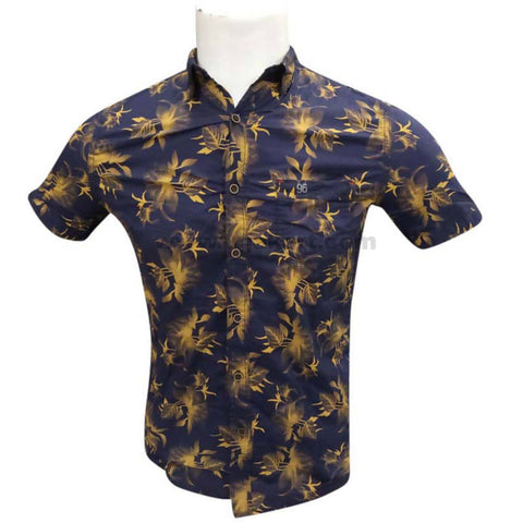 Blue and yellow Palm Printed Half Sleeve Shirts for Mens