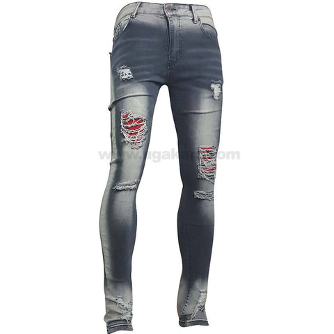 White Shade and Blue Destroyed and Patched Jean For Women_28 to 34