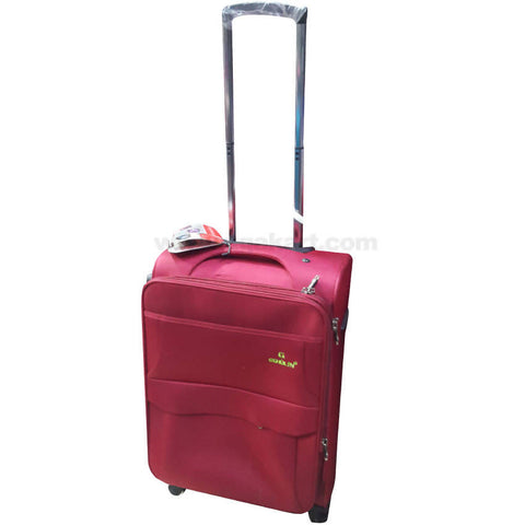Gemulan Maroon Multi Pocket Spinner Luggage Suitcase (Small)