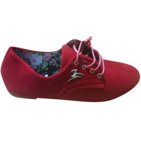Women's Red Lace Up Suede Flat Sole Shoes