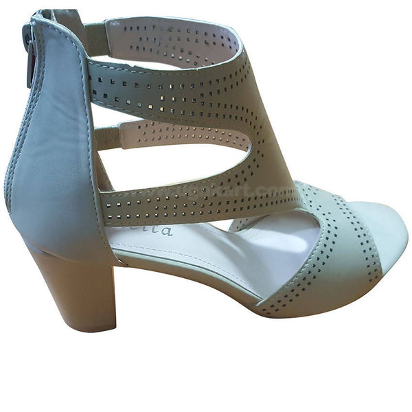 Women's White Strappy Back Zip-On Heel Shoes