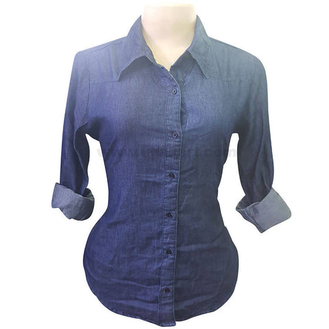 Blue Casual Jeans Shirt For Women