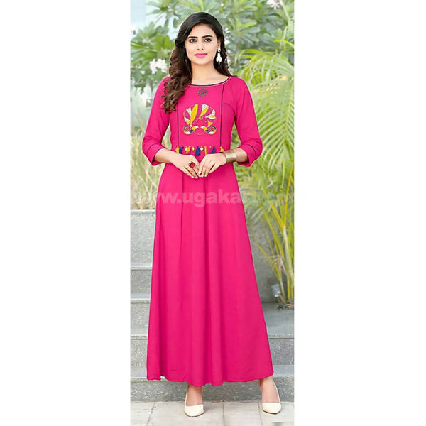 Long one pc Dress Dark Pink With Embroidery Work- XXL (Bust Size - 44)