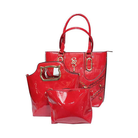 3-In-1 SS Leather Handbag With Golden Metal - Red