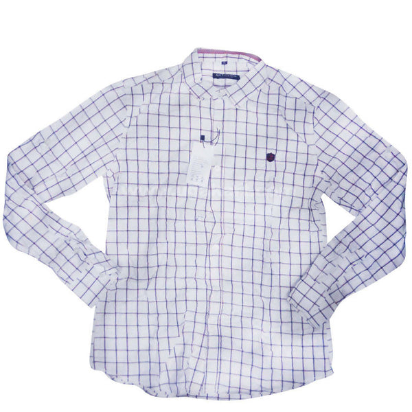 White Full Sleeve Checkered Shirt For Men