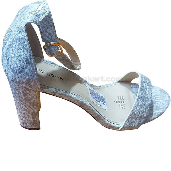 Women's White Reptile Scales Design Ankle Strap High Heel Shoes