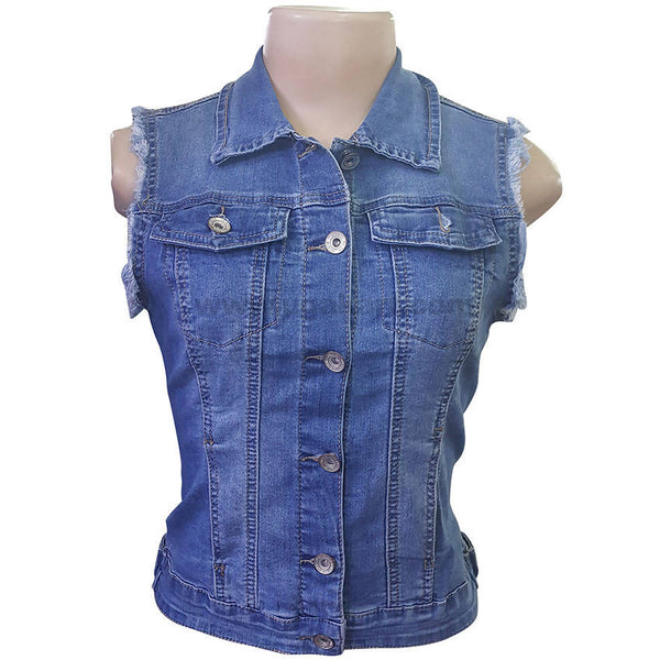 Blue Jeans Sleeve Less Jacket For Women
