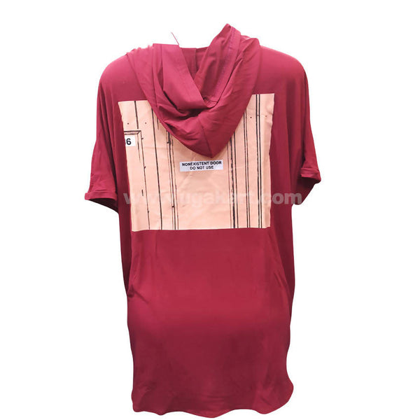 Red Long T-Shirt With Hoodie