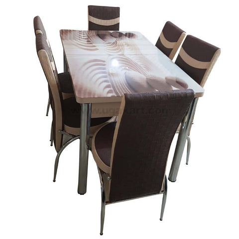 6 Seater Dinning Table Brown and Cream Colour