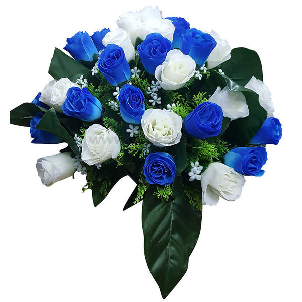 Decoration Artificial Flower Green,White and Blue