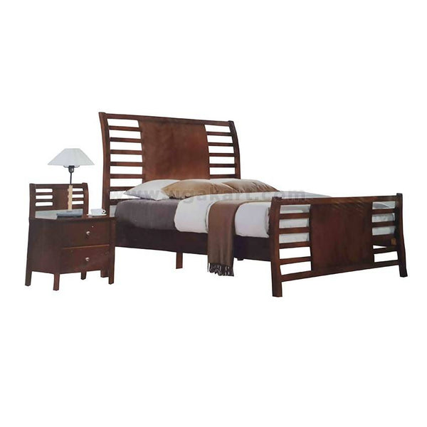 Brown Wooden Double Bed Bending From Behind Design