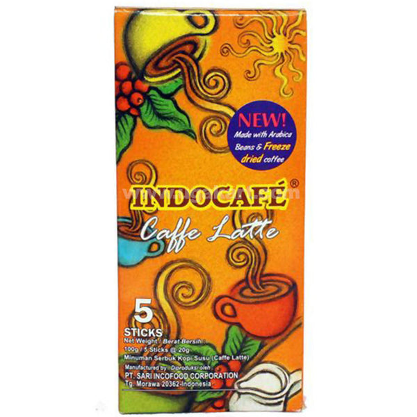 IndoCafe Coffee latte 5 Sticks Each 20 Gram and Pack _100GM