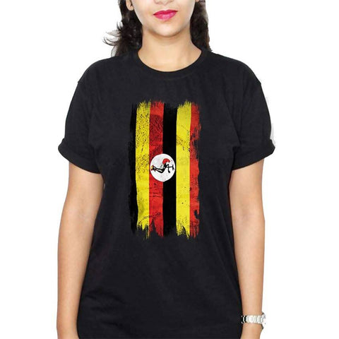 Uganda Flag Women's T-Shirt - Black