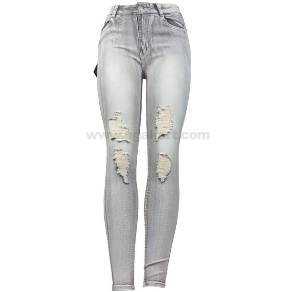 White and Grey Shade Disaster Jean