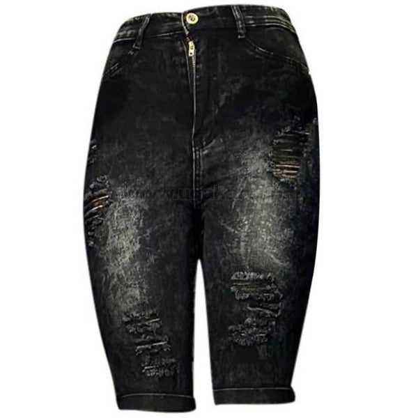 Black Faded Women's Disaster Jean Shorts