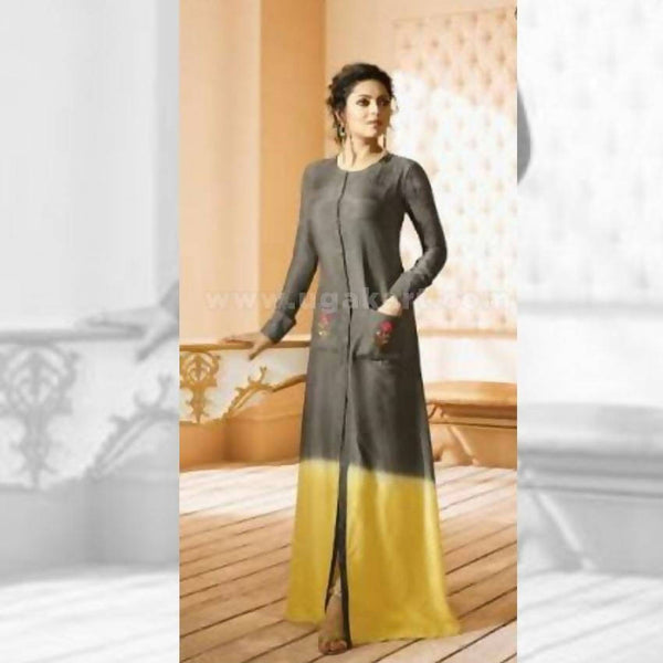 Long Kurti In Grey And Yellow Color - Size XXL