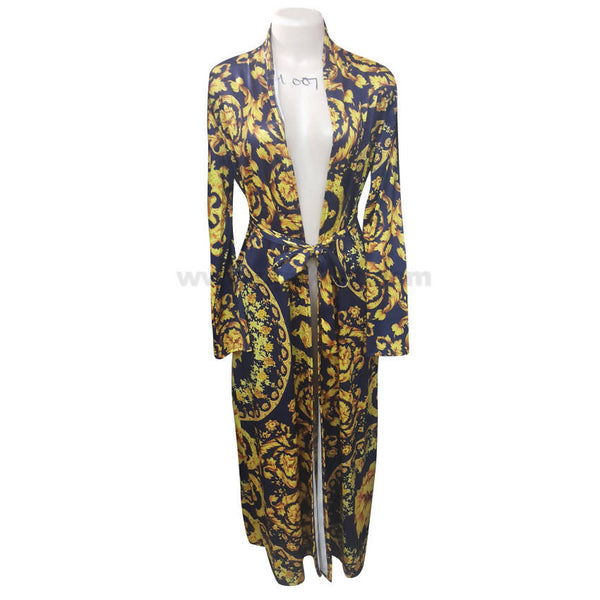 Women's Yellow & Black Waist Strap Long Sleeve Dressing Gown