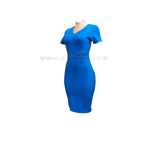 Short Sleeve Ladies Dress - Blue