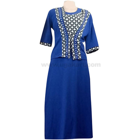 Women's Blue Long Dress with Grey Pattern Design