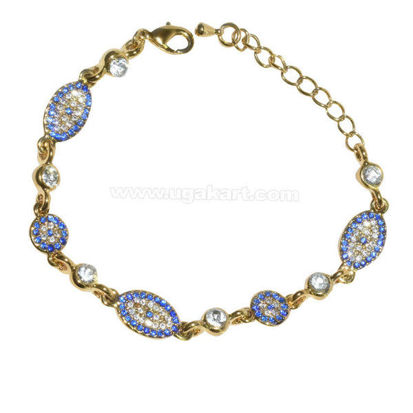 Golden Bracelet With Blue and White CZ Stone