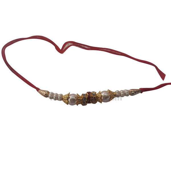 Golden and White Rakhi With Red Thread 1 pc