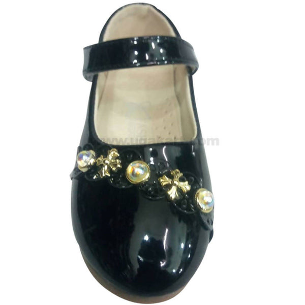 Black Single Belt Leather Flat Shoes For Girls