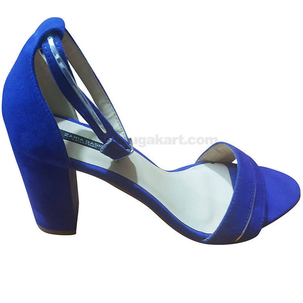 Women's Plain Blue Ankle Strap High Heel Shoes