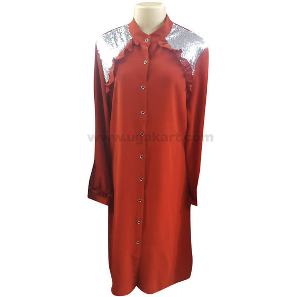 Women's Red & Silver Front Multi Button Up Long Sleeve Dress